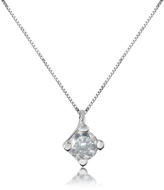 Forzieri 0.15 ct Diamond Solitaire Pendant 18K Gold Necklace