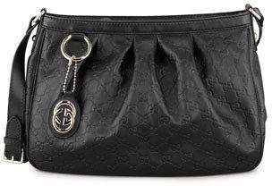 Gucci Sukey Guccissima Leather Messenger Bag, Black