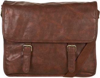 Topman Brown Leather Look Satchel