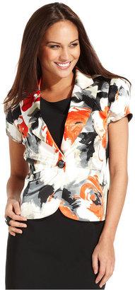 Kasper Jacket, Short-Sleeve Floral-Print