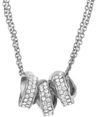 Michael Kors Silver-Tone Three Ring Double Chain Necklace