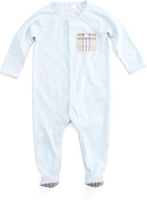 Burberry Elvis Jersey Check-Pocket Sleepsuit