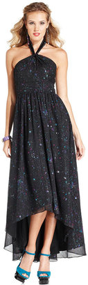 GUESS Dress, Sleeveless Printed High-Low Halter Gown
