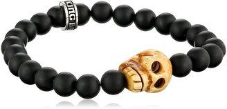 King Baby Studio Men's Black Onyx Beads with Carved Bone Skull Bracelet