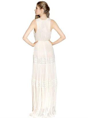 Maria Lucia Hohan Silk Muslin Crochet Long Dress