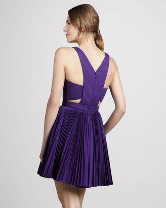 Robert Rodriguez Pleated Cutout Dress