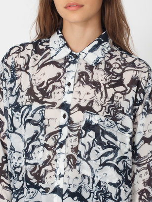 American Apparel Illustrated Chiffon Oversized Button-Up