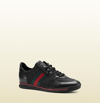 Gucci Lace-Up Sneaker With Signature Web Detail.