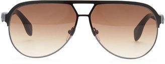 Alexander McQueen Silver Skull Aviator Sunglasses, Black