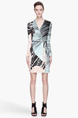 Diane von Furstenberg Teal and coral silk patterned Valencia wrap dress