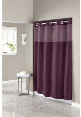 """Bed Bath & Beyond Hookless® Waffle Aubergine 71"""" W x 74"""" L Fabric Shower Curtain and Liner Set"""