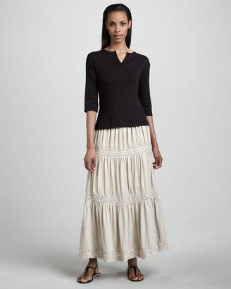 Joan Vass Lace Tiered Skirt, Petite