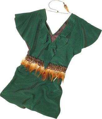 Hafize Ozbudak Jade Green Silk Tunic with Feather Belt