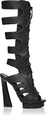 Proenza Schouler Accessories Black Printed Lizard Leather Cut High Boots