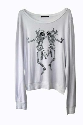 Wildfox Couture Skeleton Dance Baggy Beach Jumper in Clean White