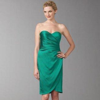 Badgley Mischka Platinum Label Hammered Satin Strapless Dress