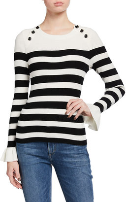 Milly Striped Button-Shoulder Top