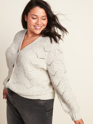 Old Navy Pointelle-Knit Button-Front Plus-Size Cardigan Sweater