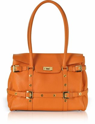 Fontanelli Orange Buckled Calf Leather Satchel Bag