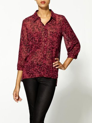 Juicy Couture Bardot Red Leopard Shirt