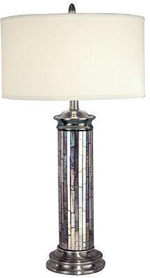 Dale Tiffany Table Lamp, Silver Art Glass