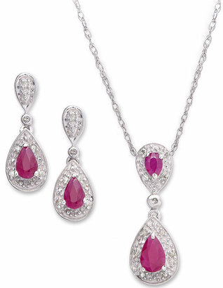 Macy's Ruby (1-3/8 ct. t.w.) and Diamond (1/10 ct. t.w.) Set in Sterling Silver Pendant and Earrings