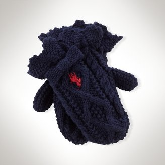 Aran-Knit Cotton Bow Mittens