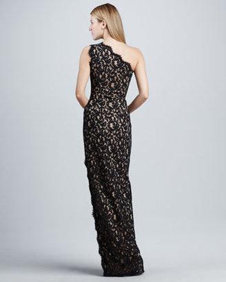 Tadashi Shoji One-Shoulder Lace Gown