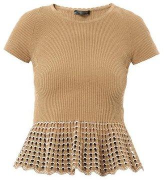 Alexander McQueen Ribbed-knit peplum top