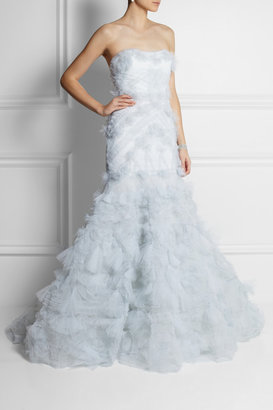 Marchesa Strapless textured-tulle gown