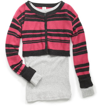 Qi Striped Cropped Cashmere Cardigan, Charcoal/Deep Pink