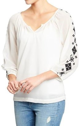 Old Navy Women's Embroidered Chiffon Blouses