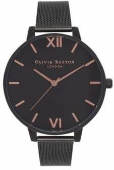 Olivia Burton Analog After Dark Black IP Mesh Bracelet Watch