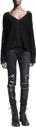 Saint Laurent Zip-Detail Leather-Knee Jeans