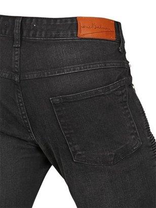 16.5cm Stone Washed Denim Biker Jeans