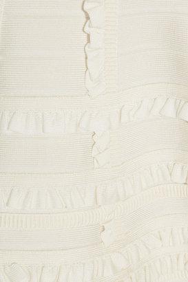 Herve Leger Ruffle-trimmed bandage dress