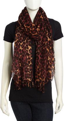 Theodora & Callum Leopard Print Fringe Trimmed Scarf, Black