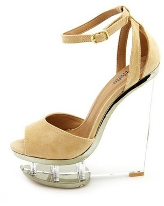 Charlotte Russe Sueded Ankle-Strap Clear Wedge Sandal