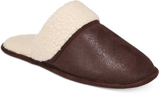 Club Room Men's Slippers, Steiger Brown Sherpa Scuff Slippers $45 thestylecure.com