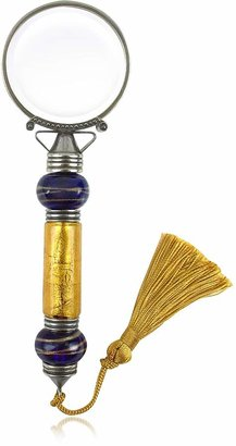Murano Bortoletti Handmade Blue & Gold Glass Magnifying Lens