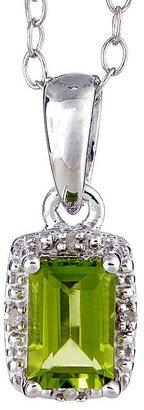 Sterling Emerald-Shaped Gemstone Pendant w/ Chain