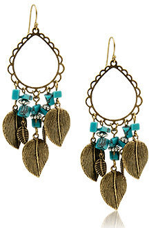 Forever 21 Turquoise And Leaves Earrings