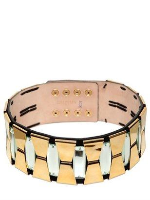 Balmain 80mm Crystal On Suede High Waist Belt