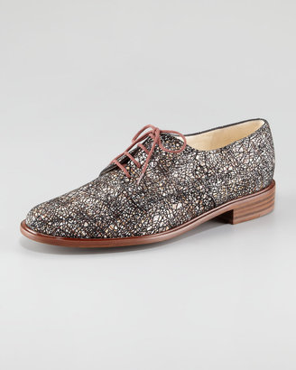 Robert Clergerie Printed Suede Lace-Up Oxford