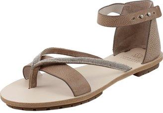 Brunello Cucinelli Monili T-Strap Leather Sandal