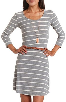 Charlotte Russe Belted Crochet Back Sweater Dress