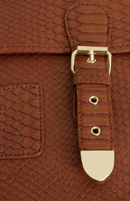 Topshop Snake Embossed Faux Leather Satchel, Large