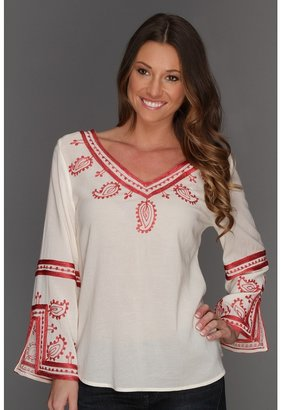 Lucky Brand Topanga Days Embroidered Top (Natural Multi) - Apparel