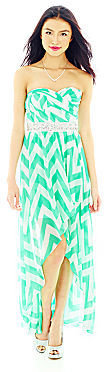 JCPenney LOVE REIGNS Chevron Print Strapless High-Low Dress