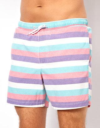 Asos Stripe Swim Shorts With Acid Wash